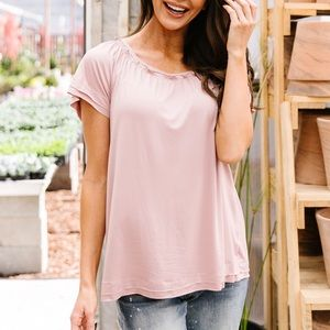 Double Up Top in Blush Pink